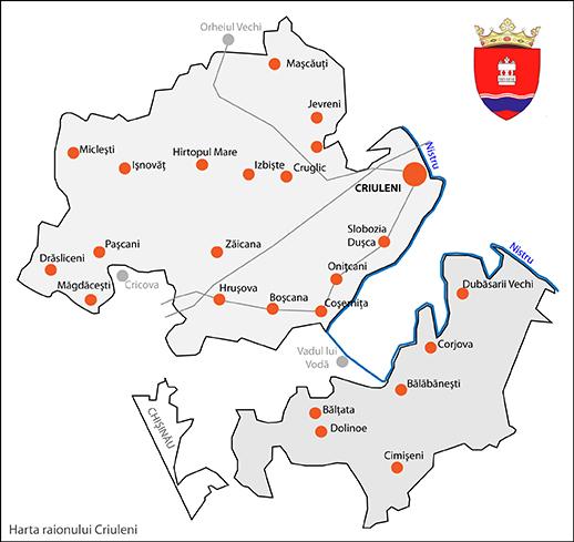 Harta raionului Criuleni