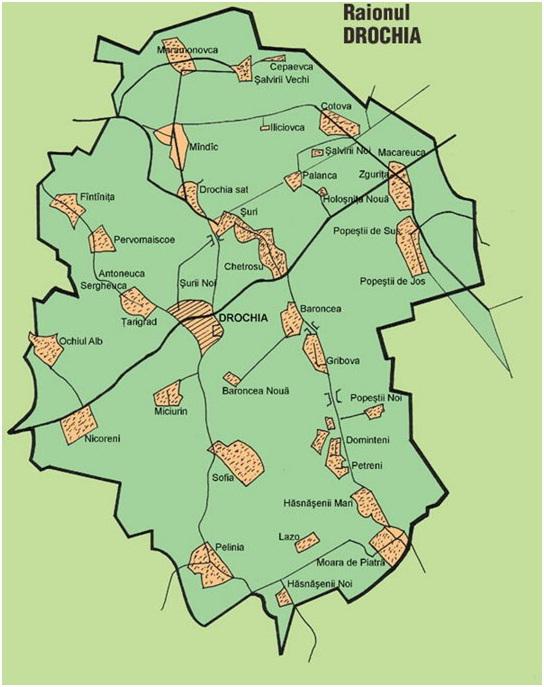 Harta raionului Drochia